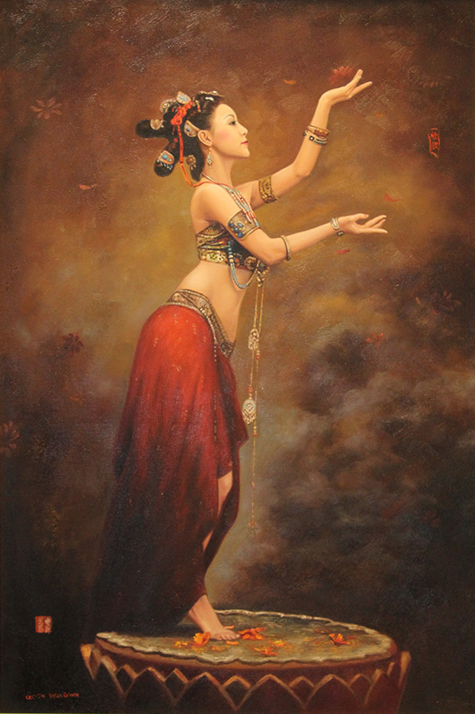 CECILIA AISIN-GIORO  Flying to Heaven Original Oil 32 X 48
