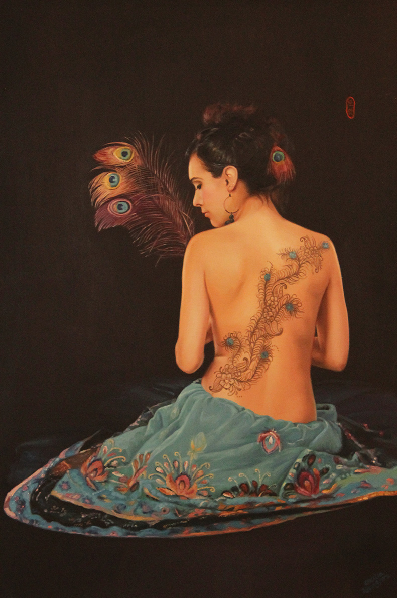 CECILIA AISIN-GIORO  Peacock Fantasy Original Oil 59 X 32