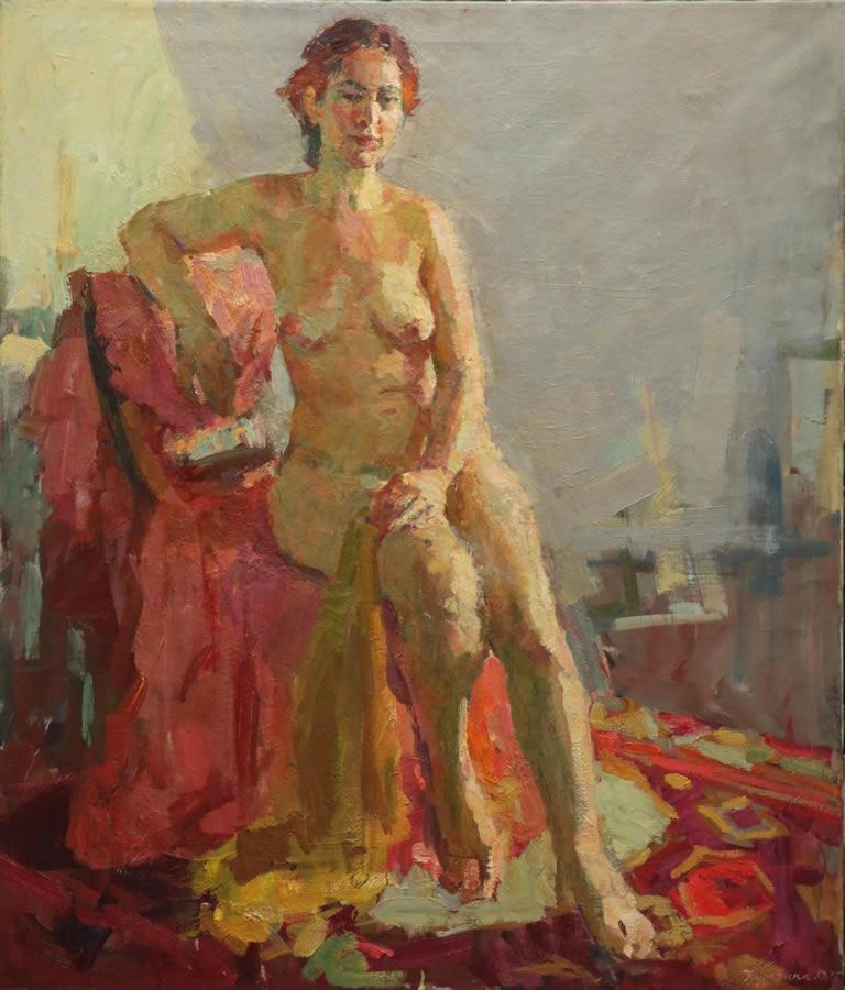 OLGA KULAGINA  Nude in a Sunny Roo Original Oil 39 X 33