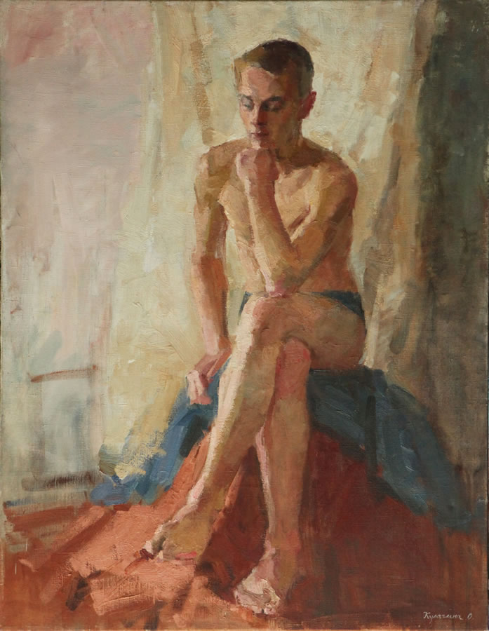 OLGA KULAGINA  Sitting Boy Original Oil 35 X 27