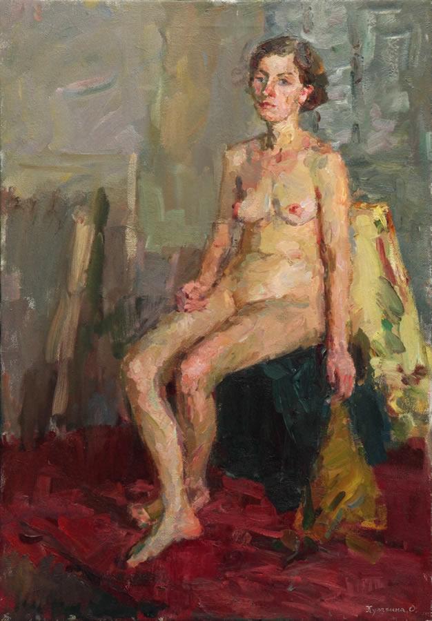 OLGA KULAGINA  Study Nude Original Oil 39 X 28