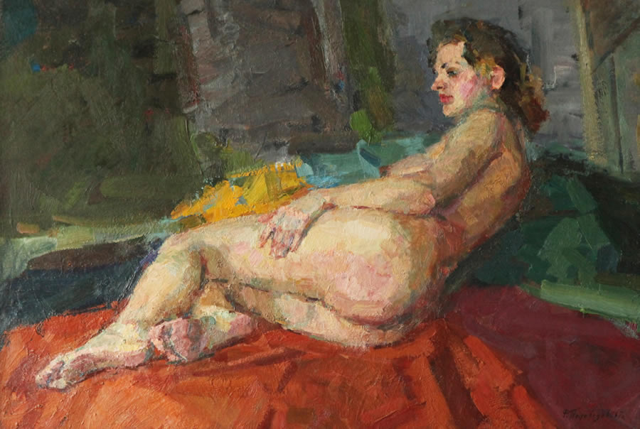 ROMAN PODOBEDOV  Nude on the Bed Original Oil 26 X 38