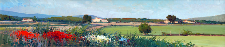 ROSA CANTO  Summer Landscape Oil on Panel  9 x 40