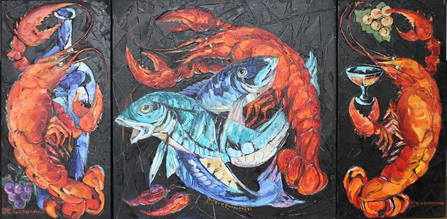 VALERI SOKOLOVSKI  Still life lobster triptych Original Oil 24X12 | 24X24 | 24X12