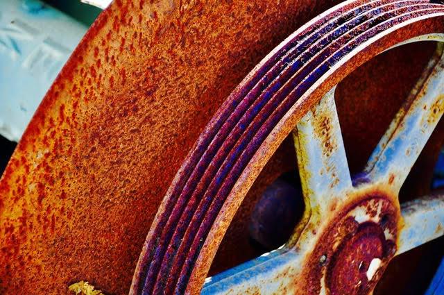 LEE ANN WOLFIN  Rusty Wheel Mixed Media 20 X 30
