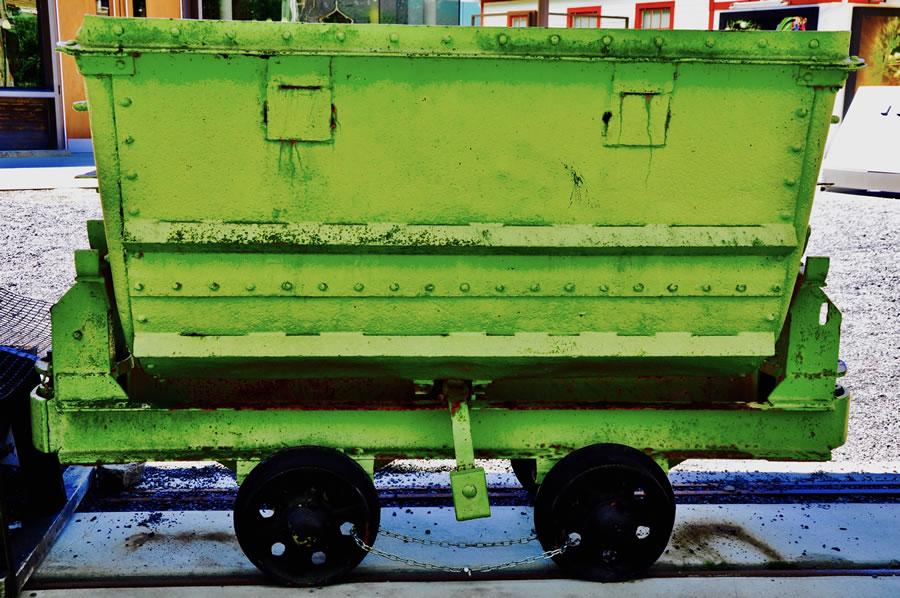 LEE ANN WOLFIN  Green Ore Car Mixed Media 24 x 36