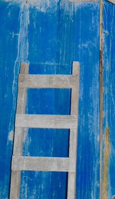 LEE ANN WOLFIN  Ladder on Blue Metal 20 X 30