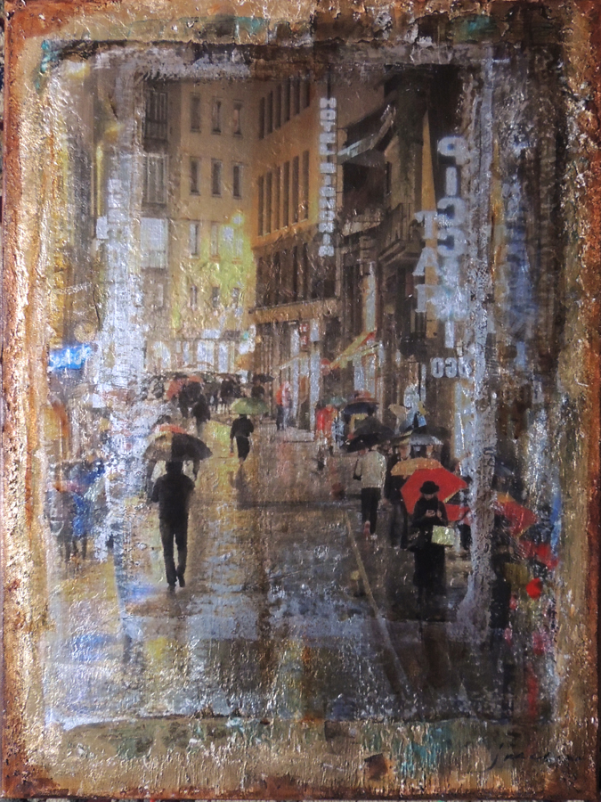 JANICE MCLEAN  Ponte Vecchio Original Mixed Media 18 X 24