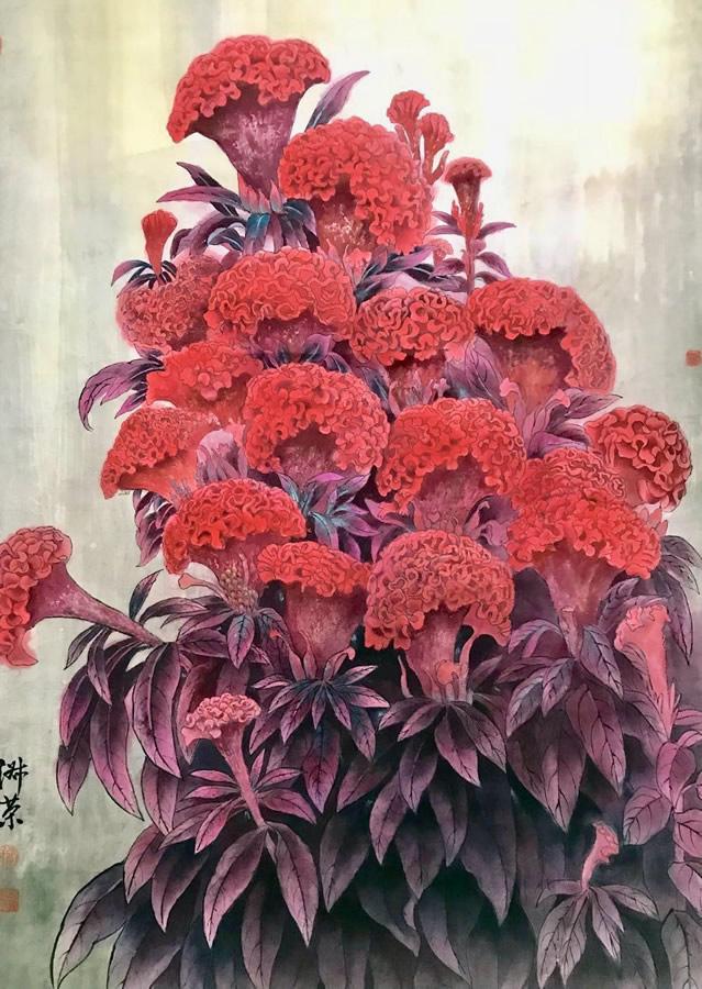 ZHANG SHU RONG  Celosia Original Meticulous Gouache 37.5 X 53