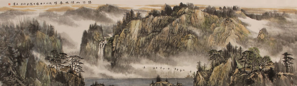 LU TIAN YUN  The Long River Reflect Sping Original Ink & Chinese Painting Pigment 27 X 94