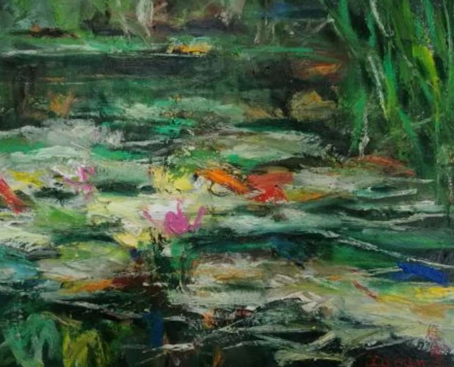 XU MIN  Willow Pond Original Oil 20 X 24