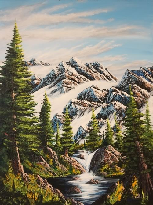 JOHN JOHNSTON  Assinweechi Mountains Original Acrylic 30 X 40