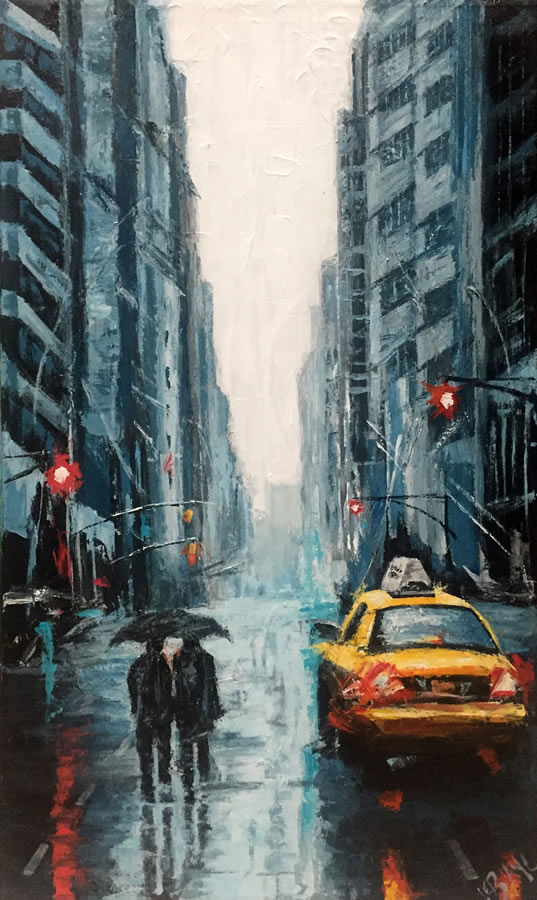 MICHEL LEBLANC  Rainy Day Original Acrylic 39.5 X 23.5