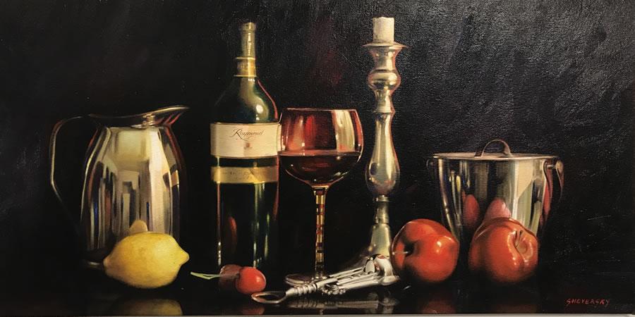 ALEXANDER SHEVERSKY  Still Life with Wine Original Oil 24 X 48