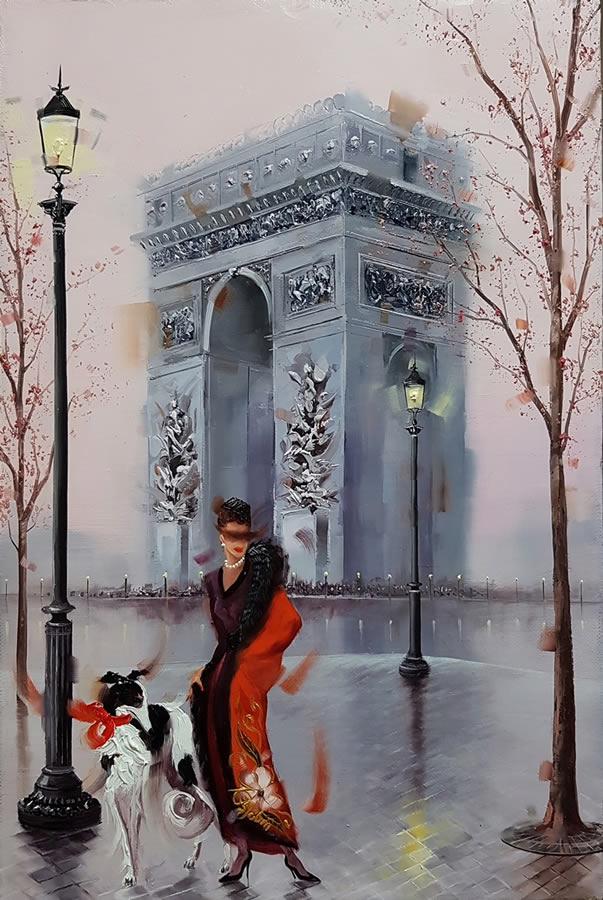 KAMIAR GAJOUM  Arc De Triomphe Pose Original Oil 10.5 X 16.5