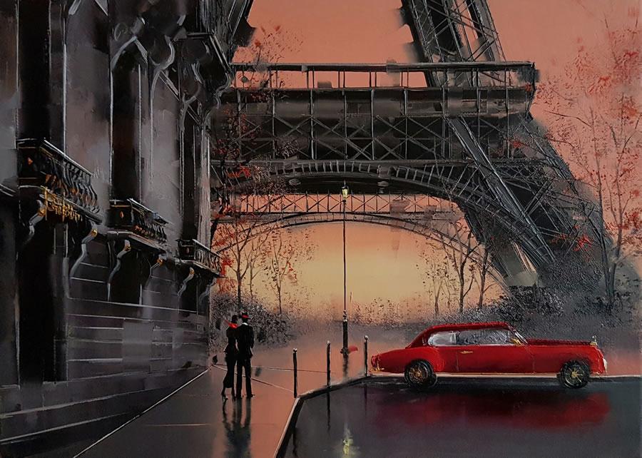 KAMIAR GAJOUM  Saint Valentine a Paris Original Oil 9.5 X 13