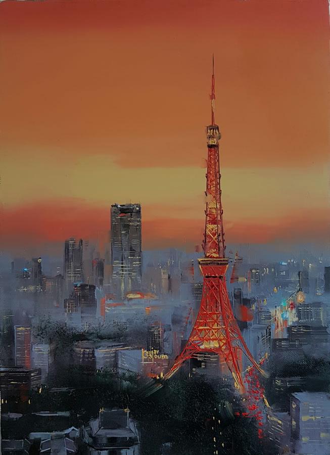 KAMIAR GAJOUM  Tokyo Tower Original Oil 9.5 X 13