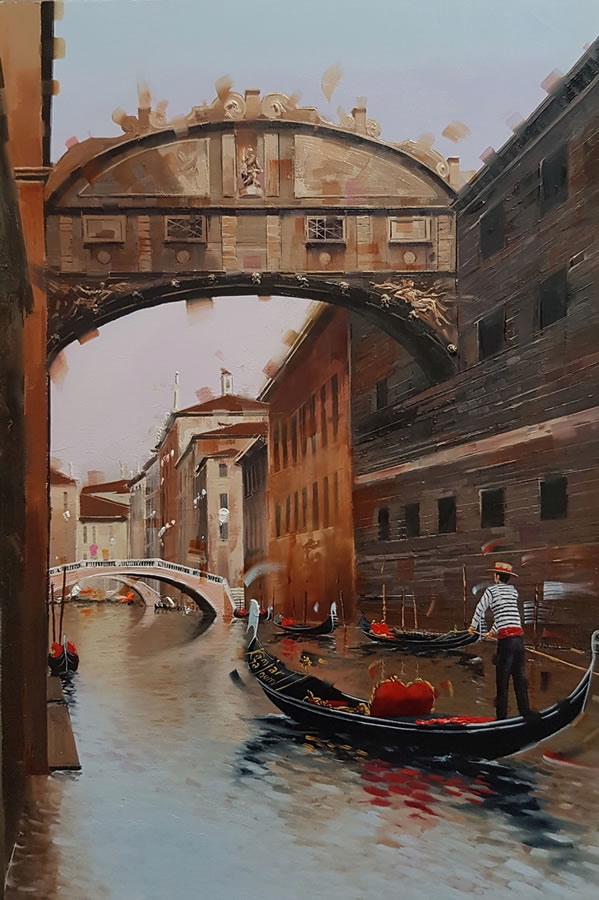 KAMIAR GAJOUM  Venetian Canal II Original Oil 10.5 X 16.5