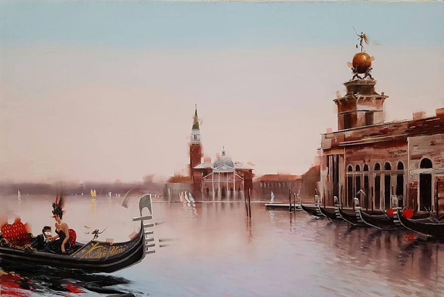 KAMIAR GAJOUM  Venezia Date Original Oil 10.5 X 16.5
