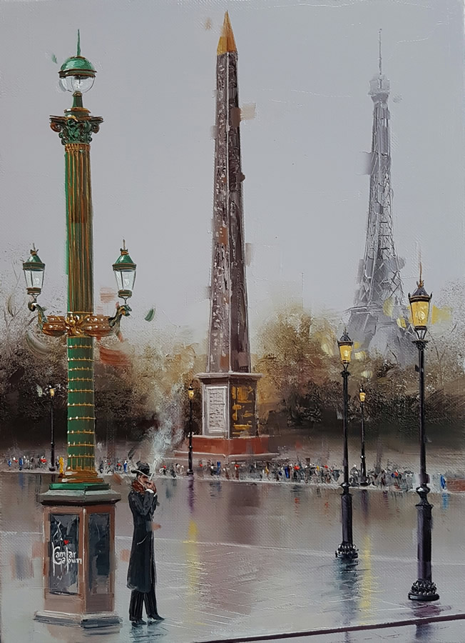 KAMIAR GAJOUM  Cigar at Place De La Concorde Original Oil 9.5 X 13