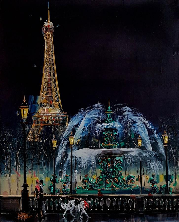 KAMIAR GAJOUM  Place De La Consorde La Nuit Original Oil 8.5 X 10.5