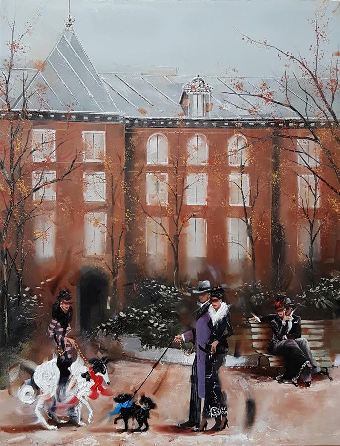 KAMIAR GAJOUM  Tokyo Garden Original Oil 12.5 X 16.5