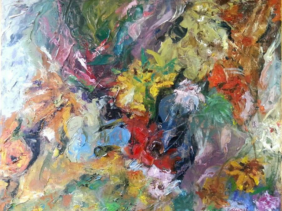 CHIU PAI  The Season of Flowers Original Oil 22 X 26