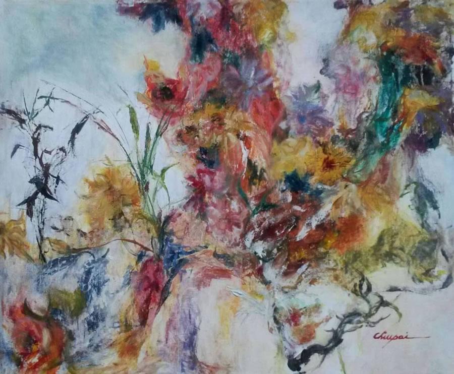 CHIU PAI  Vernal Garden Original Oil 22 X 26