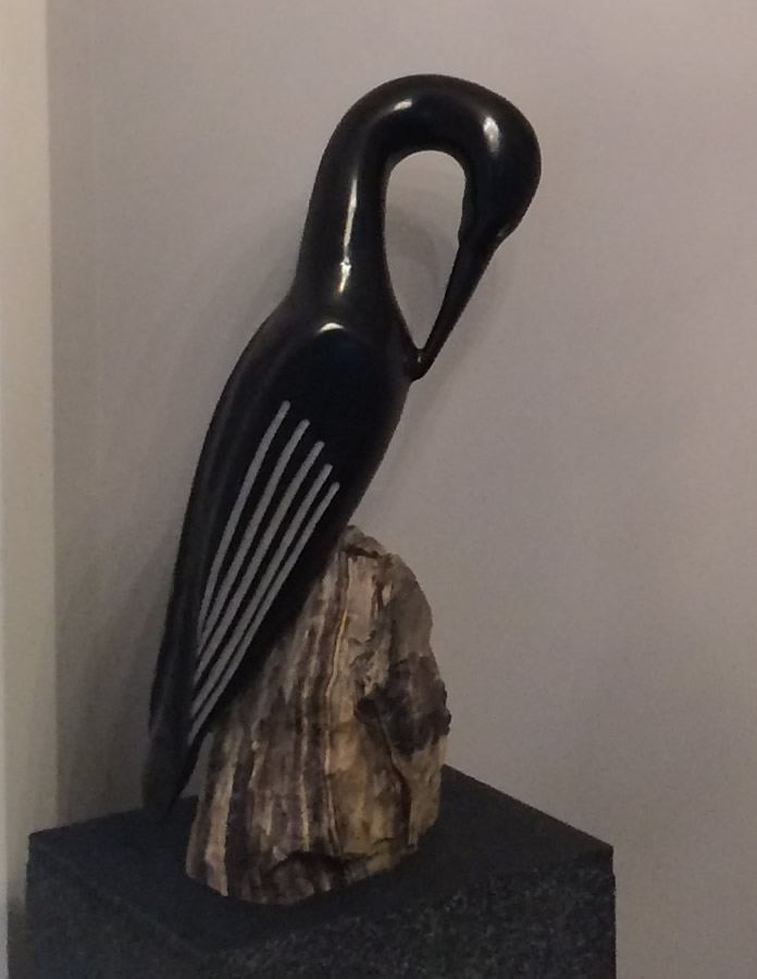 HERB LATREILLE  Black Comorant Original Sculpture 5 X 21