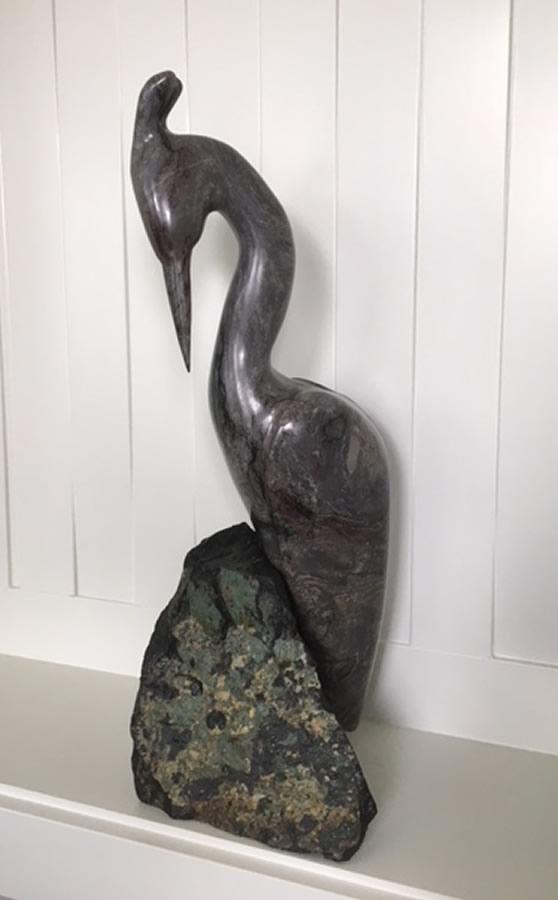 HERB LATREILLE  Blue Heron Original Sculpture 9 X 25
