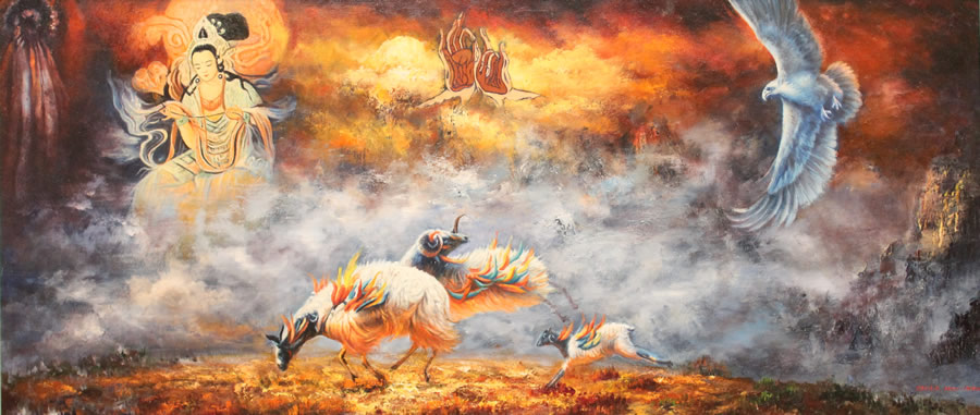 CECILIA AISIN-GIORO  Fengshui 1 Good Luck Forever Original Oil 34.5 x 69