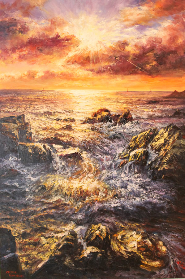 CECILIA AISIN-GIORO  Fengshui 2 The Sunrise for Good Luck Original Oil 54 x 38.5