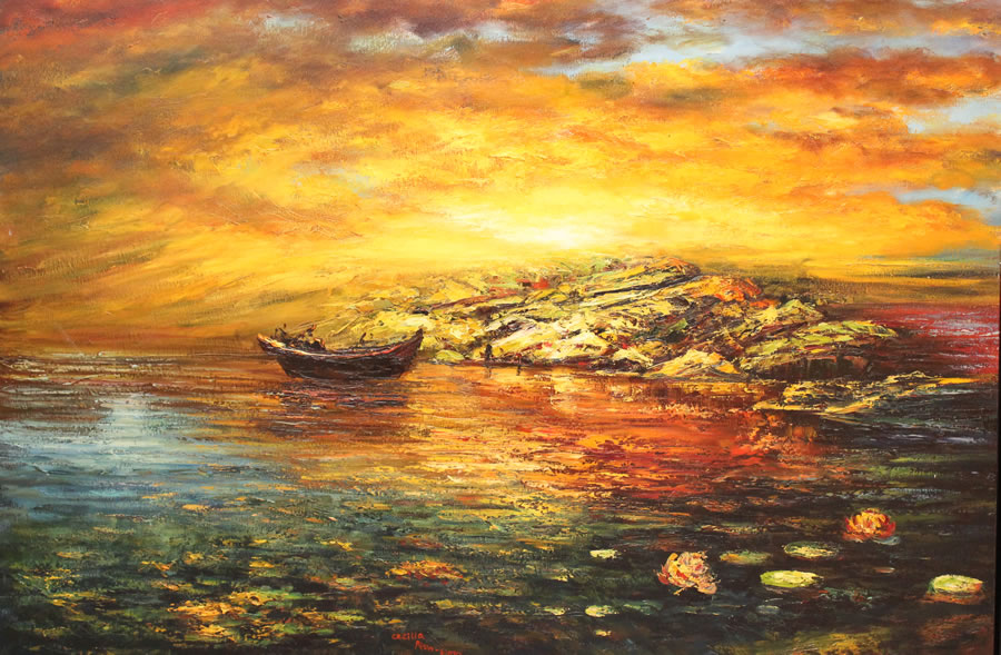 CECILIA AISIN-GIORO  Fengshui 3 The Sunrise for Good Life Original Oi 23 x 49