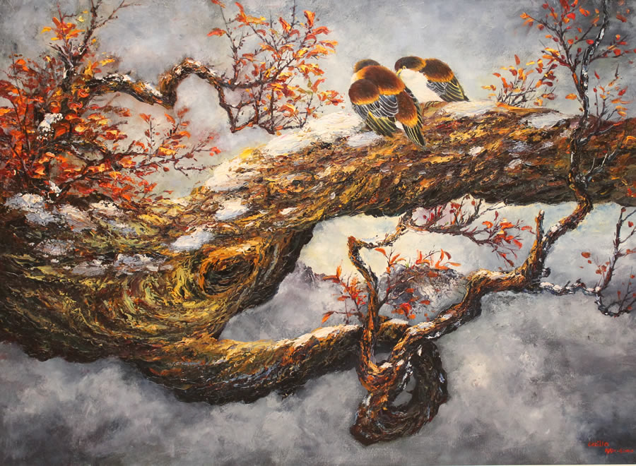 CECILIA AISIN-GIORO  Lover Birds 1 Original Oil 39 X 50