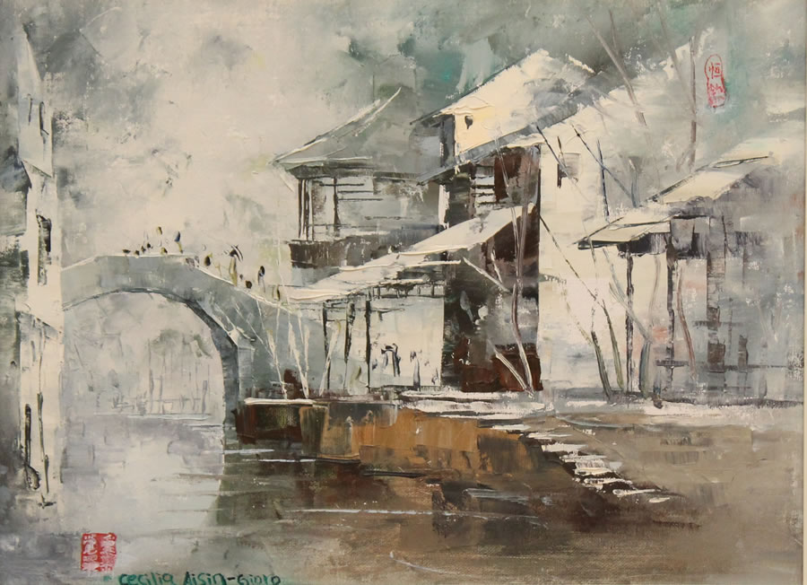 CECILIA AISIN-GIORO  The Water Town 1 Original Oil 17 x 21