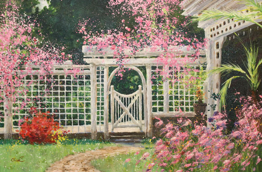 OLIVIA ZENG  Backyard Flowers Original Oi 18 X 24