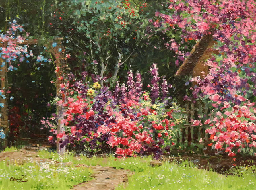 OLIVIA ZENG  Summer Garden Original Oil 24 X 36