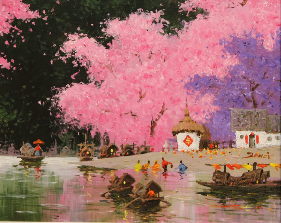 UNCLE ZENG  Blossom and Harvest Original Oil 16 X 20