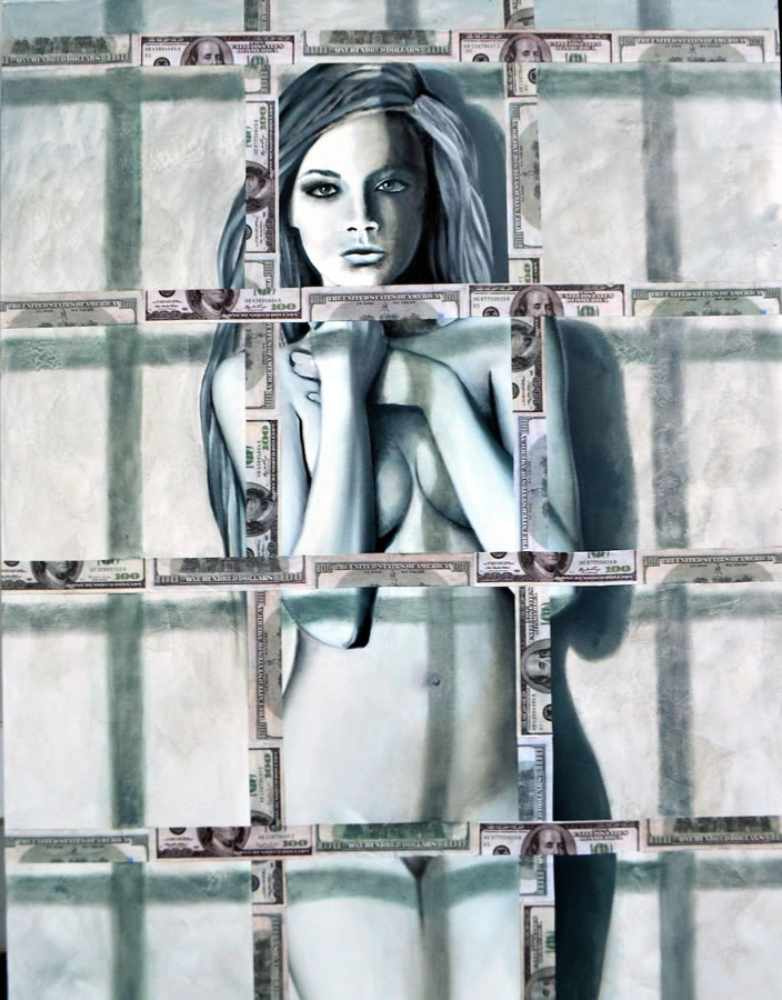 OKSANA TANASIV  Dollar Art Series - Jailed Original Oil 40 X 30