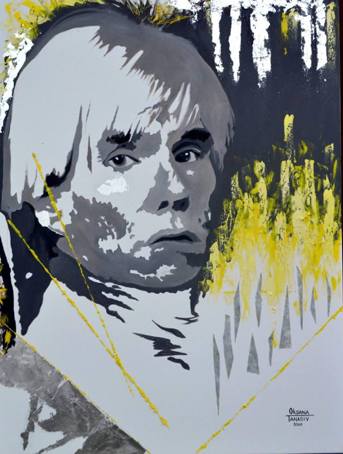 OKSANA TANASIV  Reincarnation series - Andy Warhol Original Oil 36 X 48