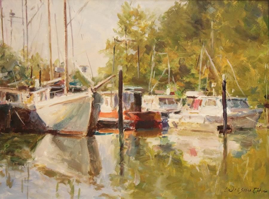 WILSON CHU  On The River Original Oil 18 X 24