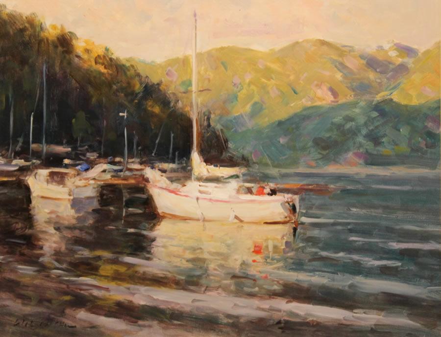 WILSON CHU  Summer Evening (Deep Cove) Original Oil 22 X 28