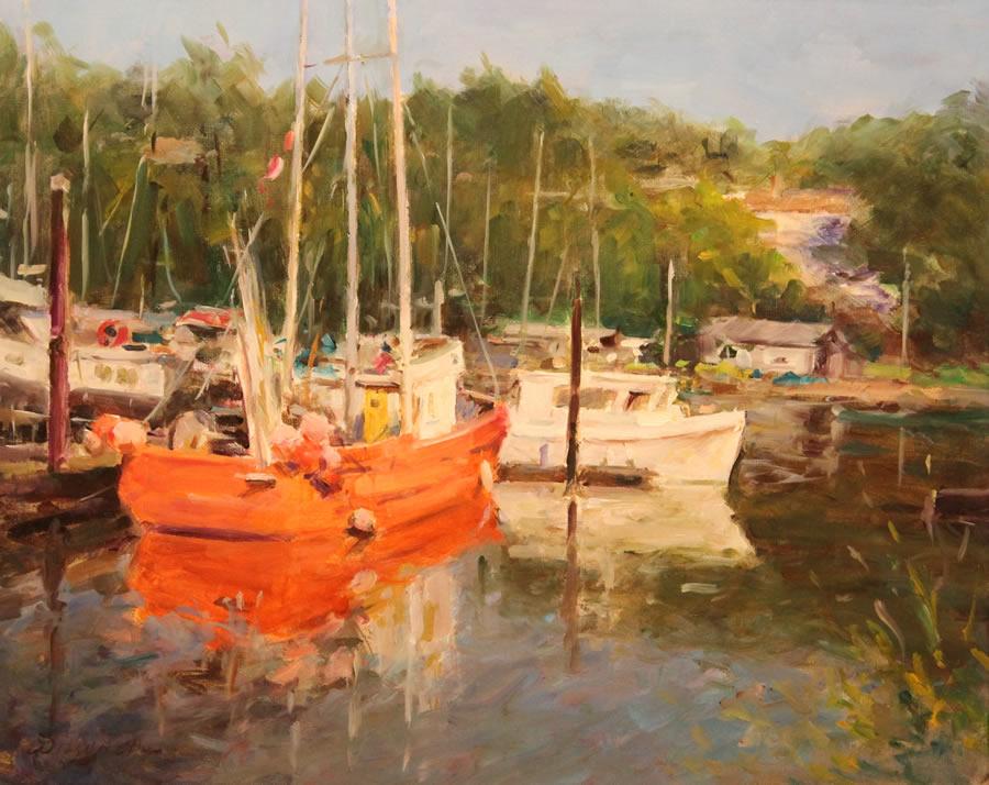 WILSON CHU  The Red Fishing Boat Original Oil 24 X 30