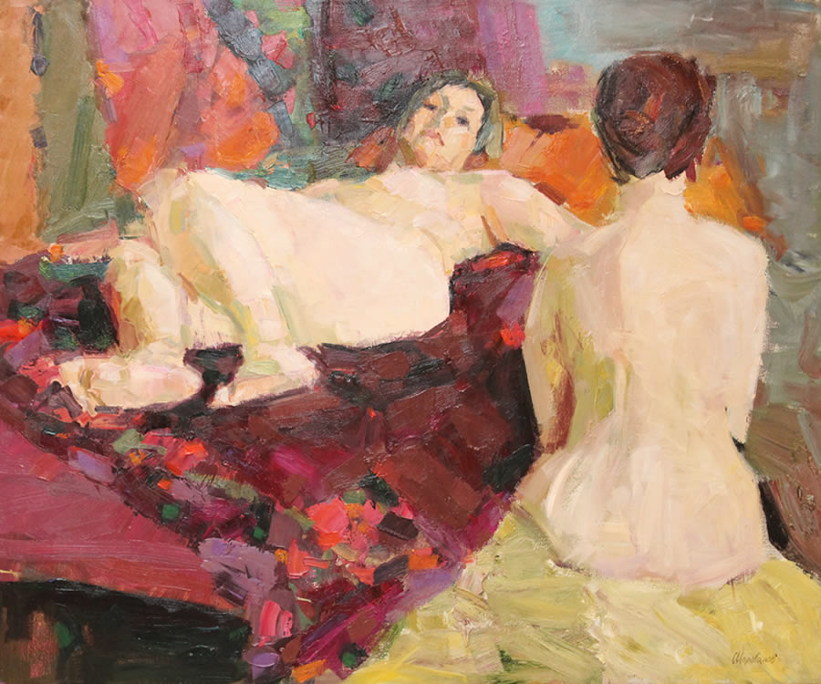 ROMAN PODOBEDOV  Two Women  Original Oil  34 X 40.5