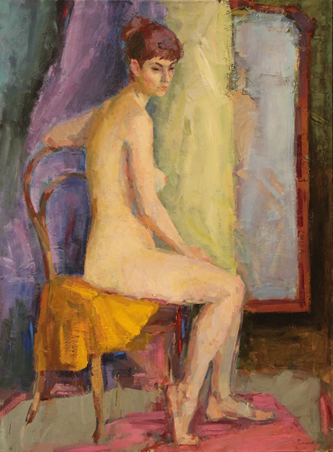 YURI FILIPPOV  Sitting Nude Original Oil 47 X 36