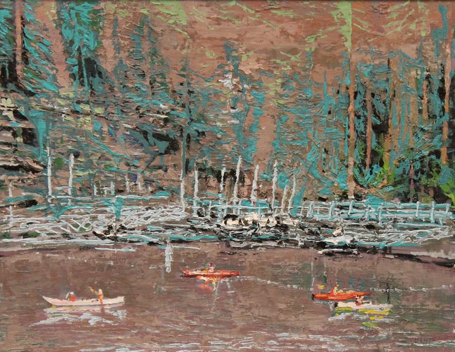 FENG YANG  Canoe And Kayaking Deep Cove II Original Oil 24 X 18