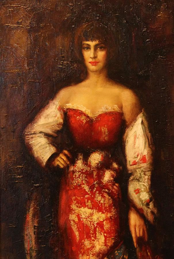 OLEG TURCHIN  Red Dress Original Oil 30 X 22