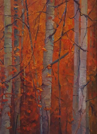 THOMAS CETNAROWSKI  Birch Trees Original Oil 24 X 18