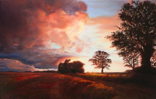 DAVID SHEPHERD  Sunset Landscape Original Oil 12 X 18