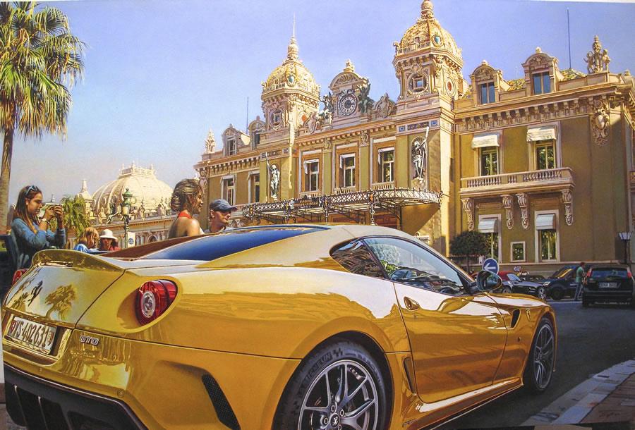 OLEG TURCHIN  Yellow Ferrari Original Oil 36 X 54